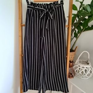 Ally Striped Wide Leg Culotte Pants Size 10